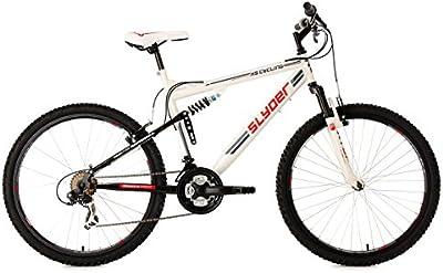 KS Cycling Fully Slyder RH - Bicicleta de montaña, color blanco / negro, talla L (173-182 cm), ruedas 26