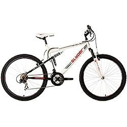 "KS Cycling Fully Slyder RH - Bicicleta de montaña, color blanco / negro, talla L (173-182 cm), ruedas 26"", cuadro 51 cm"