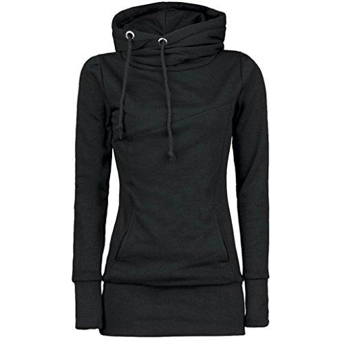 Damen Hoodie Sweatshirt,Dasongff Frauen Kapuzenpullover Mit hohem Kragen Feste Sweatshirt Pullover Tops Slim Fit Pulloverkleid (M, Schwarz) (Hoodie Damen Sweatshirt)