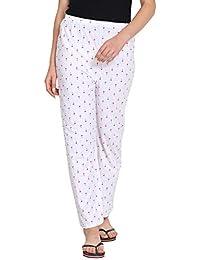 Fflirtygo Women Pyjamas, Night Dress, Lounge Wear, Red Color Palm Tree Printed On White Pyjama,–Soft Cotton Night Wear