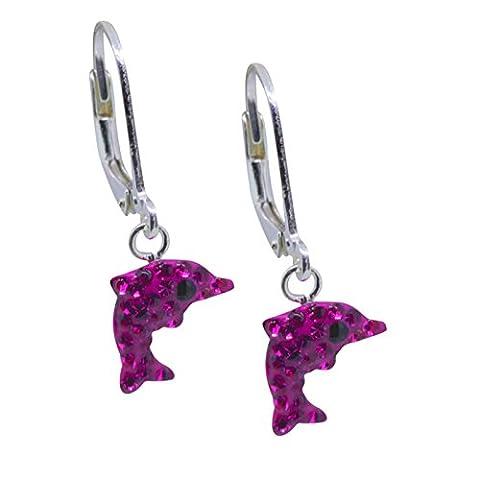 SL-collection kinderohrringe boucles d'oreilles dauphin argent 925/1000–cristal-rose fushia