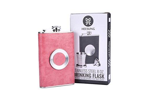 Heesung Flachmann –Edelstahl, 227ml, Whiskey-Geschenk-Set mit einem integrierten, zusammenklappbaren 50ml Schnapsglas und Trichter, mit hochwertigem Kunstleder, Edelstahl, rose, 227 g (Großhandel Stilvolle Handtaschen)