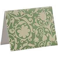 Luxury Metallic Green/Ivory Flock Notecards (Pack of 10 Cards + Matching Envelopes) - Wedding Stationery by Unravel A GIft