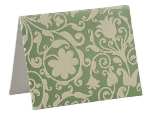 , Metallic Green/Ivory, beflockt, 10 Karten mit passenden Umschlägen, für Hochzeit Stationery Unravel A (Damast Karte Box)