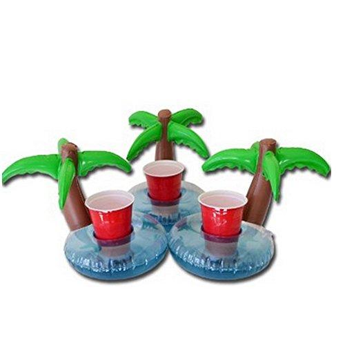 Aufblasbarer Getränkehalter Kokosnussbaum Getränke Cup Holder Pool Floats Bar Coasters Schwimmern Kindbadspielzeug Pack Poolparty Accessoire (3PCS-10*8inch, Coconut Cup Holder)