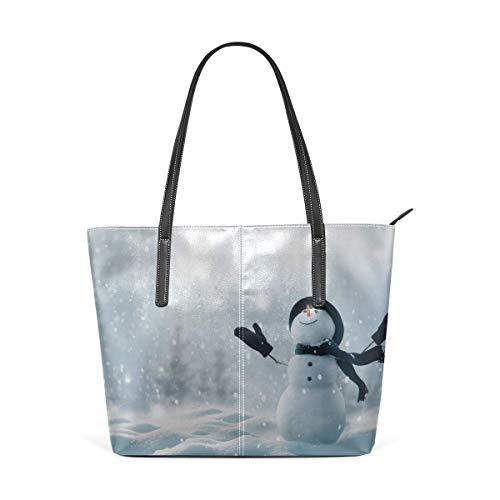 Mode Handtaschen Einkaufstasche Top Griff Umhängetaschen Favorite Snow White Snowman Large Printed Shoulder Bags Handbag Pu Leather Top Handle Satchel Purse Lightweight Work Tote Bag For Women Girls (Fall White Der Ipad Snow 3.)