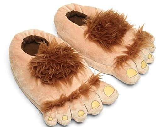 CHNMARKET Männer Bigfoot pelzigen Monster Neuheit Hausschuhe, Bequeme warme Hobbit Fuß Hausschuhe für Erwachsene (Hausschuhe Füße Hobbit)