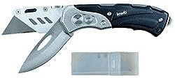 kwb Schweres Universal-Messer inkl. Cutter-Messer, klappbar, zwei extra scharfe 60 x 19 mm Klingen aus Metall, inkl. Ersatz-Klingen, schwarz