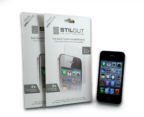 StilGut 2x Bildschirmschutzfolie kompatibel mit iPhone 4 und iPhone 4S Antireflex Schutzfolie