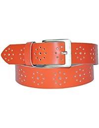 4cm Breit Echt Leder Guertel mit Löcher Muster Nr. 926-1- Wählbar aus 18 Farben und 12 Längen