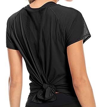 QUEENIEKE T-Shirt Tee Top à Manche Courtes Mix et Mesh Attaché de ... a3c8e2887f1