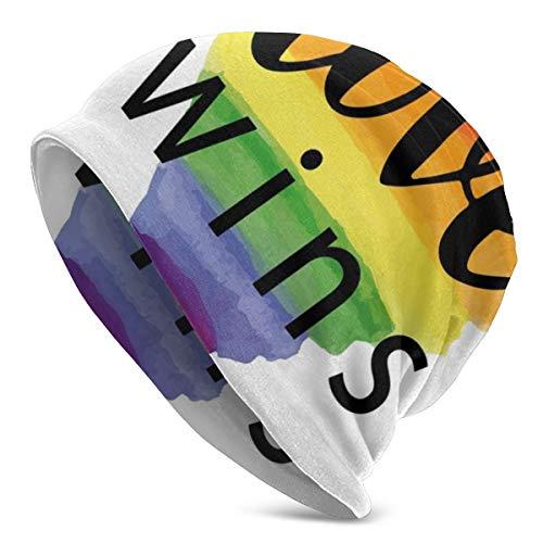 ORANGEW Top Level Beanie Men Women - Inspirational Gay Rights Slogan Love Valentines Watercolor Artistic Heart - Unisex Cuffed Plain Skull Knit Hat Cap