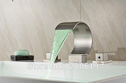 Maifeini  Versand Moderne Badezimmer Aus Massivem Messing Nickel Gebürstet Badewanne Armatur Tap-Led Licht Ändern Deck Montiert, Multi -