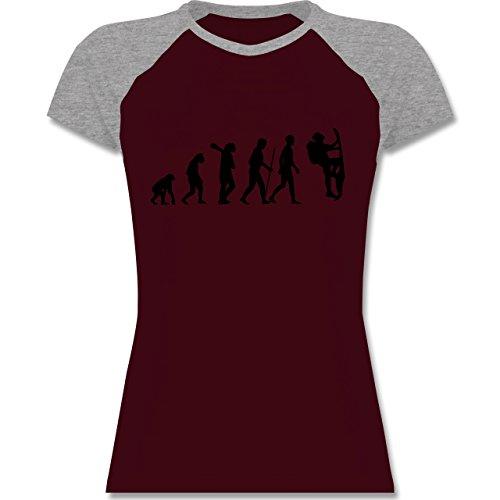 Shirtracer Evolution - Klettern Evolution - Zweifarbiges Baseballshirt/Raglan T-Shirt für Damen Burgundrot/Grau meliert