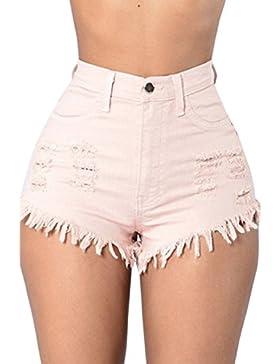 La Mujer Rasgada Hoyo Cremallera Boton Cortar Hot Denim Jeans