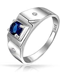 Bling Jewelry Ronda Solitario Color Azul Zafiro CZ Anillo de Hombre de Compromiso Plata