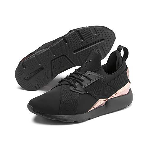 PUMA Muse Metal Damen Sneaker Puma Black-Rose Gold 5 (Puma Damen Schuhe Slip On)