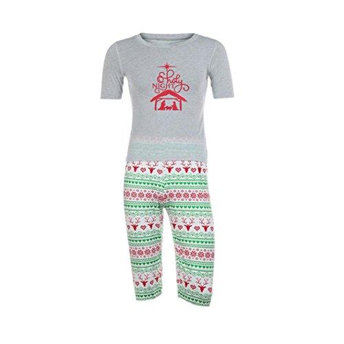 Hirolan Familie Abgleich Kleid Weihnachten Pyjama Sankt Outfits O-Ausschnitt Shirts Laternenhülse Kleider Hirsch Drucken Hose 2-13T Kinderkleidung Mama Vati Anzüge (XXXL, (Xxxl Santa Anzug)