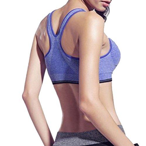 Demarkt Femme Sexy Soutiens Gorge de Sport Yoga Soutiens Push up Bra Lingerie Brassière Vest Bleu