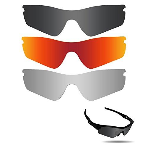 fiskr anti-saltwater Polarisierte Ersatz Gläser für Oakley Radar Path 3Paar Pack, Stealth Black & Metallic Silver & Fire Red