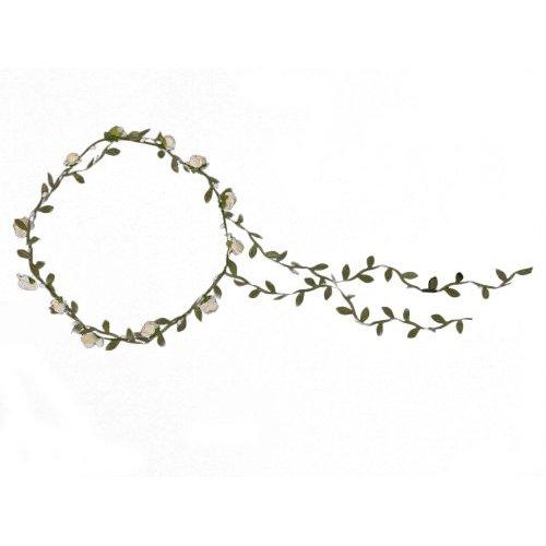 Guirlande Couronne Auréole Florale de Branche de Fleurs Roses pour Festival Mariage Outil de Photographie Taille Adulte (d'Ivoire + vert)