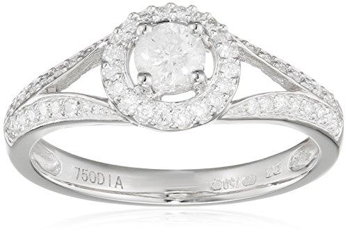 Naava Damen-Ring-750 Weißgold Diamant 18 K Rundschliff weiß