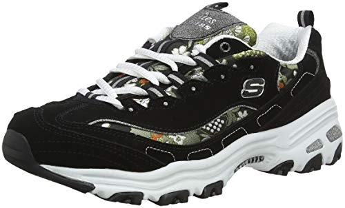 Skechers D'Lites Floral Days 13082, Sneaker Donna, Nero (Black White BKW), 38 EU