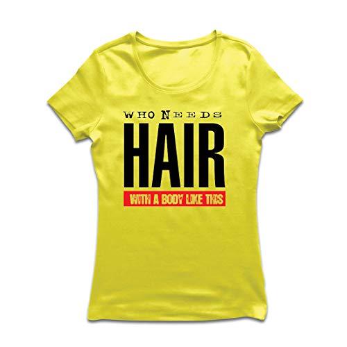 lepni.me Frauen T-Shirt Wer braucht Haare mit einem Körper wie diesem Lustiges Geschenk für Glatze (XX-Large Gelb (Beste Original Paare Kostüme)