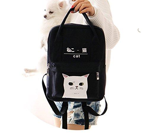 Imagen de las mujeres niñas japonés y coreano estilo bolsas kawaii gato lienzo escuela , negro alternativa