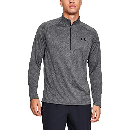 Under Armour Herren UA Tech 2.0 1/2 Zip Sportliches Longsleeve, Schnell Trocknendes Langarmshirt für Männer, Grau (Carbon Heather/Black 090), Large - Athletic Pullover Golf