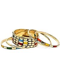 Johareez Multicolour Gold Plated Bangle Set Of 5 Pcs For Women