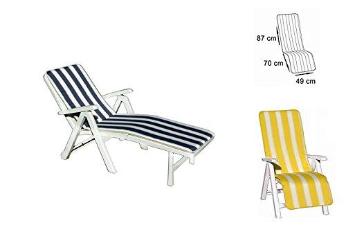 takestop Kissen Streifen blau Creme Gartenliege Liege Capri 87x 70x 49cm Ausschnitt Abdeckung...