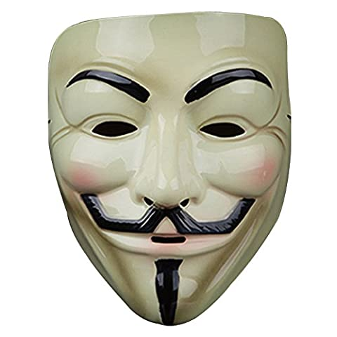V wie Vendetta Maske,Guizen anonymous Guy Fawkes Maske für Erwachsene Superheld Halloween Karneval Horror Einheitsgröße Theater Kostüm(Beige)