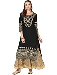 Zoeyams Women's Black Cotton Block Prints Long Straight Kurti