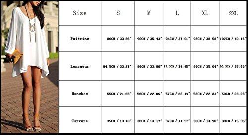 Monissy Femmes Robe Manches Chauve-Souris A Manches Longues Mini-V-Cou Ourlet Irreguliere Occasionnel Robe De Mousseline Lache Bleu 1