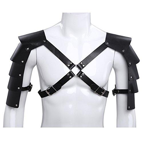 FEESHOW Herren Wetlook Brust Harness Geschirr Leder Body Bondage Kostüm (Kostüme Herren Erotische)