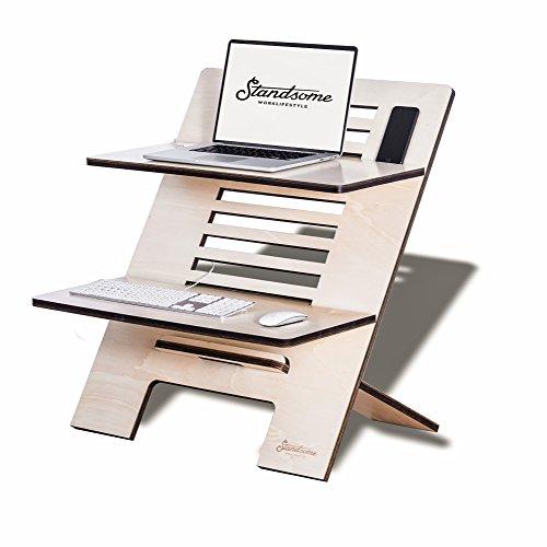 Stehschreibtisch Aufsatz aus Holz - Der höhenverstellbare STANDSOME DOUBLE Steh Sitz Schreibtisch...