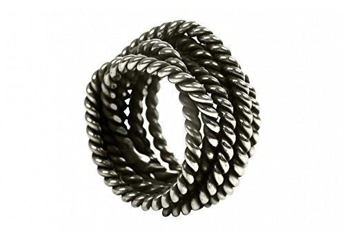 SILBERMOOS XL XXL Ringe in großen Größen Damen und Herren Partnerring Wickelring extravagant geschwärzt Größe 64, 66, 68, 70 Sterling Silber 925, Größe:70 (22.3)