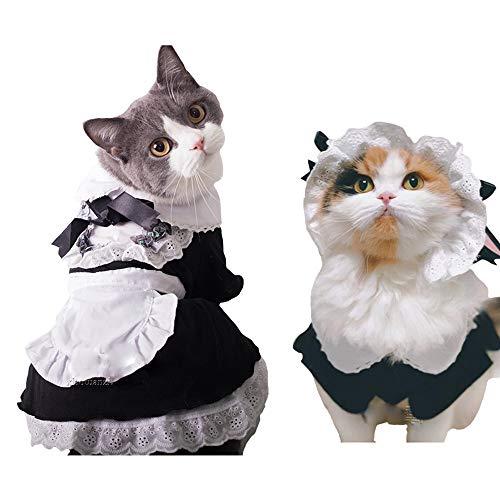 FLAdorepet Hausmädchen-Kostüm mit Hut, Katze, Halloween, Party, Kostüm, Outfits für kleine und mittelgroße Hunde, Schwarz (Kostüm Pan Peter Weibliche)