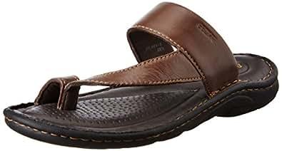 BATA Men's Sporty Toering Brown Leather Hawaii Thong Sandals - 10 UK/India (44 EU)(8744904)