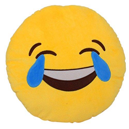 LEORX Polster Dekokissen Weiche Emoji Smiley Emoticon gelbe Runde Kissen gefüllt Plüschtier Puppe