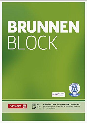 Brunnen 105261601 Recycling-Block (für Schule und Büro DIN A4, 50 Blatt, kopfverleimt)