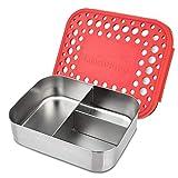 LunchBots Trio 2Edelstahl Lunch Container, 3Abschnitte, hält 1/2Sandwich- und Seiten... Rot mit weißen Punkten