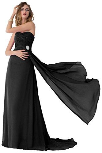 Sunvary 2015 Chiffon corte treno Pageant Gowns-Cartamodello per abiti da sera o da cerimonia, con diamanti Nero