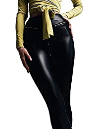 e2d934cc563d Geilisungren Damen Leggings Hohetaille Skinny Lederhose Sexy Stretch PU  Lederhose Frauen Reißverschluss Kunstleder Hose Elastizität Slim