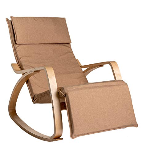 Enrico coveri contemporary poltrona dondolo relax, sedia ergonomica in legno e tessuto con poggia gambe regolabile, moderna ed elegante in vari colori (tortora)