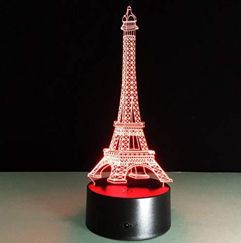 ZJFHL 3D Optical Illusion LED Nachtlicht Turm 7-Farben ändern Touch Tisch Schreibtisch Lampe Deko Lampe mit Acryl Platte & ABS Base & USB Ladegerät für Geschenke -
