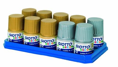 Giotto 534400 - confezione 10 barattoli da 50 ml tempera acrilica decor acrylic con tavolozza e pennello, oro e argento