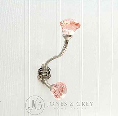 Shabby Chic Metal Wall Coat Rack Hooks - (Antique Rose Pink Glass Facet Hook)