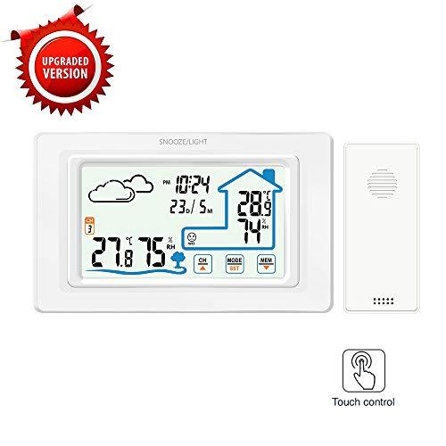 FORNORM Drahtlose Wetterstation Indoor Outdoor Thermometer Hygrometer Drahtloser Temperatur- und Feuchtigkeitsmonitor Touchscreen mit Hintergrundbeleuchtung des Außensensors (Weiß)